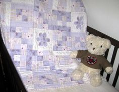 Lavender Flowers - Handmade baby quilts for girls from Unique Baby Quilt Boutique