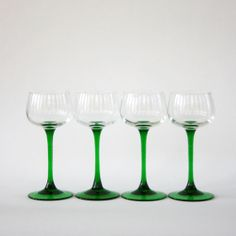 Vintage French Christmas Glasses Wine Green Stemmed by RhapsodyAttic on Etsy, $42.00