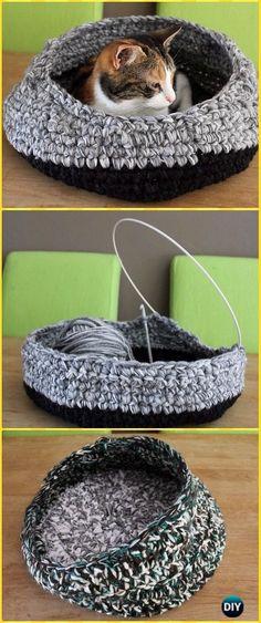 Crochet Left-over Yarn Cat Nest Instruction - Crochet Cat House Patterns Yarn Projects, Knitting Projects, Crochet Projects, Knitting Patterns, Crochet Patterns, Knitting Toys, Knitting Ideas, Chat Crochet, Crochet Baby