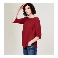 LOFT Shirred Blouse ($50) ❤ liked on Polyvore featuring tops, blouses, red dahlia, long sleeve blouse, red blouse, loft blouse, red ruched top and ruched blouse