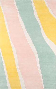 Novogratz Abstract Handmade Tufted Wool Yellow/Light Green/Light Pink Area Rug Wool in Brown/Green/Pink, Size 96.0 H x 27.0 W x 0.5 D in | Wayfair