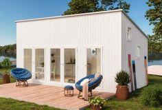 Hytte Anna   Hytte og bolig Modern Floor Plans, She Sheds, O Design, Tiny House Design, Garage Doors, Outdoor Structures, Patio, Flooring, Outdoor Decor