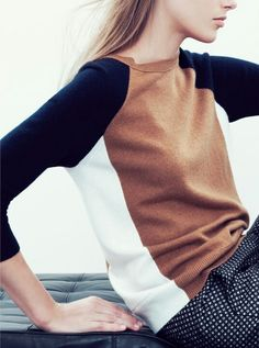 love this sweater in colour block neutrals! collection cashmere by jcrew