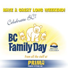 Wishing everyone a Happy BC Family Day for Monday - Hope you all have an awesome long weekend! #FamilyDay2016