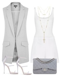 """""""Grey Skies"""" by southern-mom ❤ liked on Polyvore featuring Topshop, Wolford, Hallhuber, Chanel and House of Harlow 1960"""