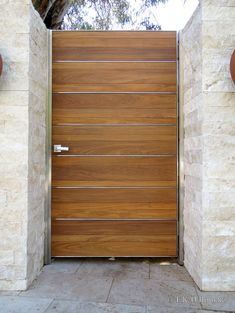 Teak Entry Gate in Black Fence Gate Design, Front Gate Design, House Gate Design, Door Design, Front Gates, Entrance Gates, Backyard Gates, Modern Exterior Doors, Steel Gate