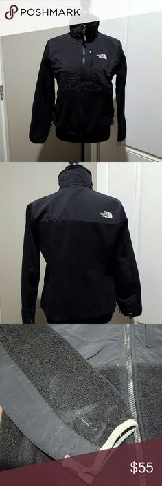 Women's North Face denali fleece jacket, size smal Women's black North Face denali fleece jacket, size small.  There is a rough patch on one sleeve shown in picture. North Face Jackets & Coats