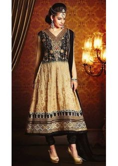 Ethnic Wear Black & Beige Georgette Anarkali Suit- 73539