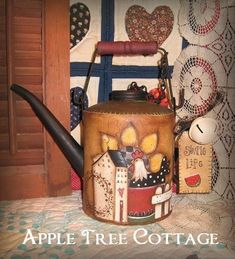 hand painted, vintage oil can