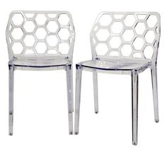 Baxton Studio Clear Acrylic Honeycomb Modern Dining Chair (Set of 2) PC-454CL | Dining Room Chairs