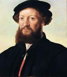 Jan van Hemessen (c. 1500-c. 1575) -- Portrait of a Man in Black -