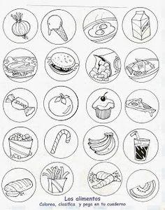 Pinto Dibujos: Alimentos saludables y alimentos chatarra para col...                                                                                                                                                                                 Más