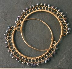 Gold hoops with freshwater pearls