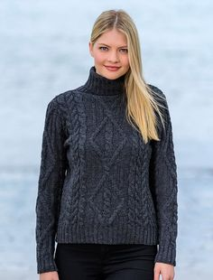 On stunning white cable knit turtleneck sweater is also available in charcoal or red. Fashionable high collar for extra warmth and it gives an eternal on-trend look. Lovely Aran Cable design complete with diamond & basket stitches Turtleneck Outfit, Mohair Sweater, Cute Sweaters, High Collar, Cardigans For Women, Fall Outfits, Turtle Neck, Stylish, Charcoal