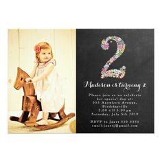 Girl's Birthday Chalkboard Invitation Chalkboard Girls Floral 2nd Birthday Party Invite