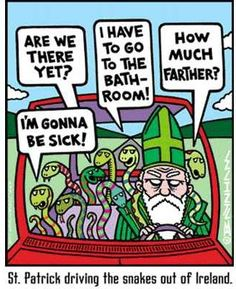 St. Patrick driving the snakes out of Ireland.