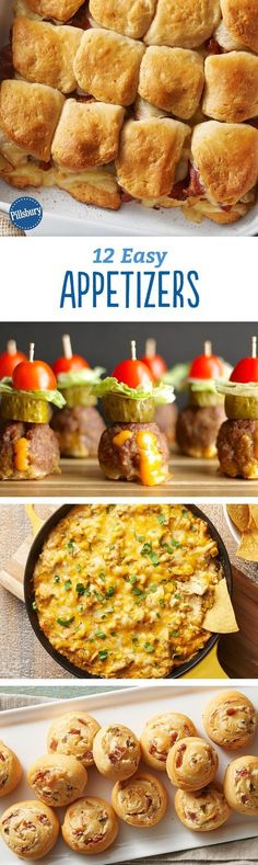Whether you're hosting a party or just looking for a pre-dinner snack, these 12 easy appetizers are crazy-delicious. From biscuit slider bakes to warm dips, you're going to want to try all of these apps.