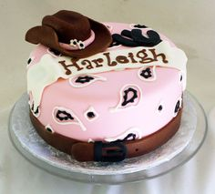 Cowgirl Birthday Cake Gray Gray do you think you can do it! I just think it is neat it has her name on it! Cowgirl Birthday Cakes, Cowgirl Cakes, Western Cakes, Cowgirl Party, Rodeo Party, Cupcakes, Cupcake Cakes, Beautiful Cakes, Amazing Cakes