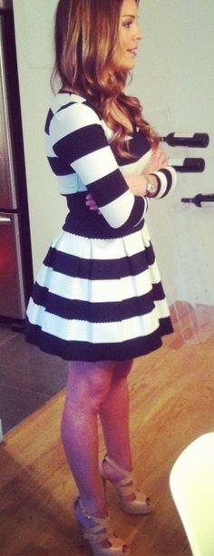Stripes! $12 Shirt from H & M , Neiman Marcus skirt.