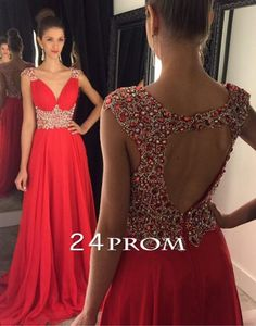 Red chiffon sequin long prom dress for teens, unique red backless long evening…