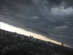 Dark clouds hang over the Indonesian capital city of Jakarta~