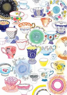 Tea Cup illustration by Hennie Haworth Tee Illustration, Pattern Illustration, Tee Kunst, Food Illustrations, Art Paintings, Pattern Design, Print Patterns, Tea Cups, Doodles