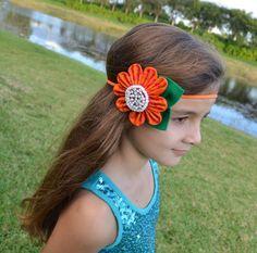 Large Flower Headband, Orange Fabric Flower Headband for Girls and Toddler Girls on Etsy, $8.00