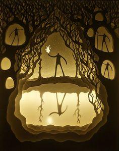 Deepti Nair and Harikrishnan Panicker, two Colorado-based artists who create stunning works of illuminated fairytale paper art