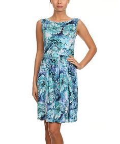 Love this Blue Floral A-Line Dress by Pretty Young Thing on #zulily! #zulilyfinds