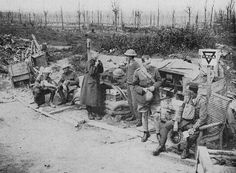 A road side canteen provided by the YMCA, near Wytschaete on 11 August 1917.