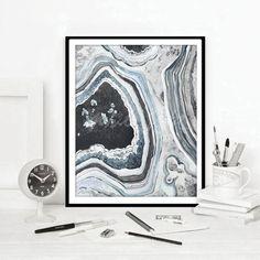 Agate Print Black White Blue Watercolour Gem Stone illustration Painting Rock Quartz Gemstone Modern Abstract Home Decor DIGITAL DOWNLOAD Watercolour, Agate, Quartz, Tapestry, Texture, Gemstones, Art Prints, Rock, Black And White