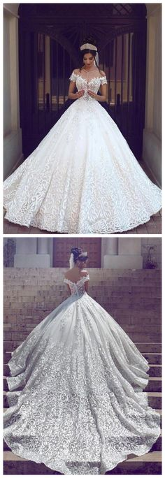 new Off-the-shoulder wedding gowns Short Sleeve ball gowns Wedding Dress Lace On Sale