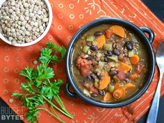 Chunky lentil and vegetable soup! Costs less than $0.60 cents per serving.