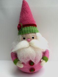 Needle Felted Wool Folk Art Santa Whimsical Waldorf by moonforest