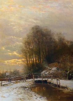 "poboh: ""Winter Landscape with Peasant Woman and Child, Louis Apol. Dutch (1850-1936) """