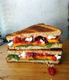 Roasted Yam, Cranberry and Feta Sandwich.