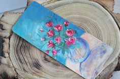 Vase of Roses Bookmark  Handpainted Floral by ArtfullyReDesigned, $11.50