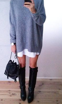 #fall #fashion · Sweater Dress // Knee Length Boots