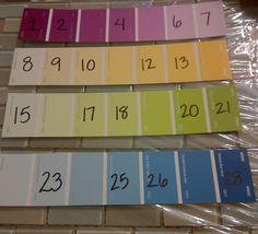 Welk getal ontbreekt? Schrijf enkele getallen van de getallenlijn op een verfmonster, lamineer, en laat kinderen met een uitwisbare stift de ontbrekende getallen opschrijven.