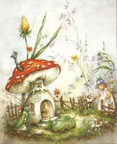 Unknown story illustration -- by Lore [Eleanor] Hummel (German, watercolorist Art Inspo, Kunst Inspo, Inspiration Art, Art Vintage, Vintage Fairies, Art And Illustration, Fairy Drawings, Fairytale Drawings, Art Fantaisiste