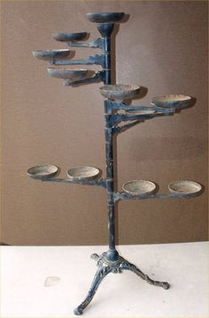 1902 Victorian Era Cast Iron Swing Arm Plant Stand Industrial