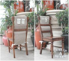 Farmhouse 'Garden Party' Burlap Chair Covers {seating assignment}~ tutorial
