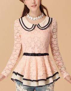 Long Sleeved Lace Peplum Top OMG LOVE!!!