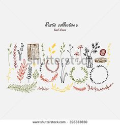 Elements of graphic design in the Rustic style. Floral motifs, the elements of wood, everything is just a natural and positive.