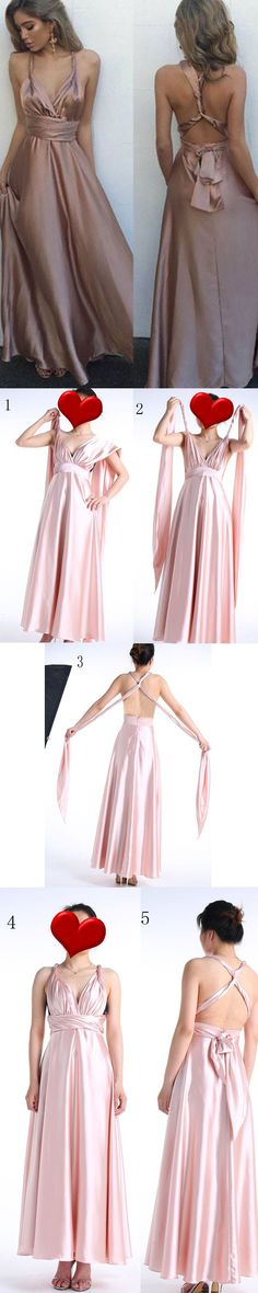 Sexy Prom Dresses 2018, Long Formal Dresses Satin, V-neck Party Dresses A-line, Ankle-length Evening Gowns with Ruffles