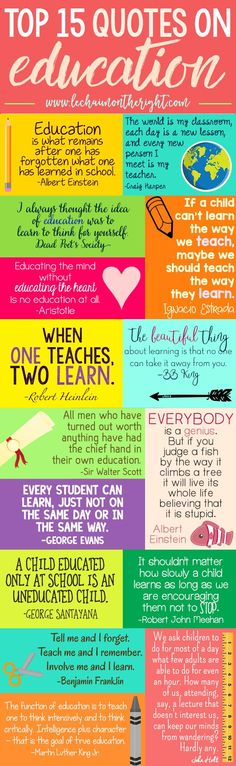 Ideas Quotes: Top 15 Quotes on Education for Homeschool or Teach...