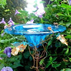 Bridal Shower Gift Butterfly feeder stained by GloriasGlassGarden, $35.00