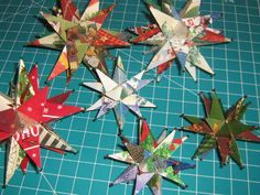 Star ornaments made from old Christmas cards!