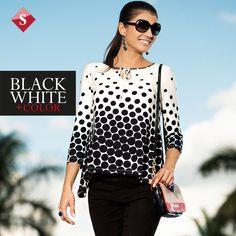 polka dots, black and white