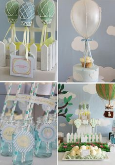 hot air balloon themed baby's party- so sweet!